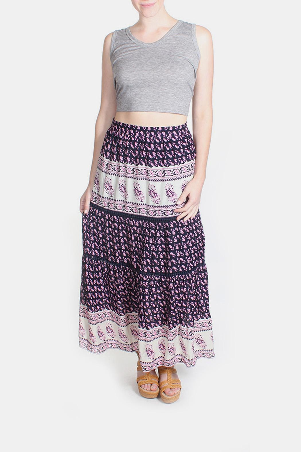 Skies Are Blue Pink Patterned Maxi Skirt - Main Image