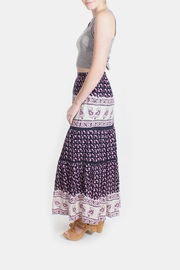 Skies Are Blue Pink Patterned Maxi Skirt - Back cropped