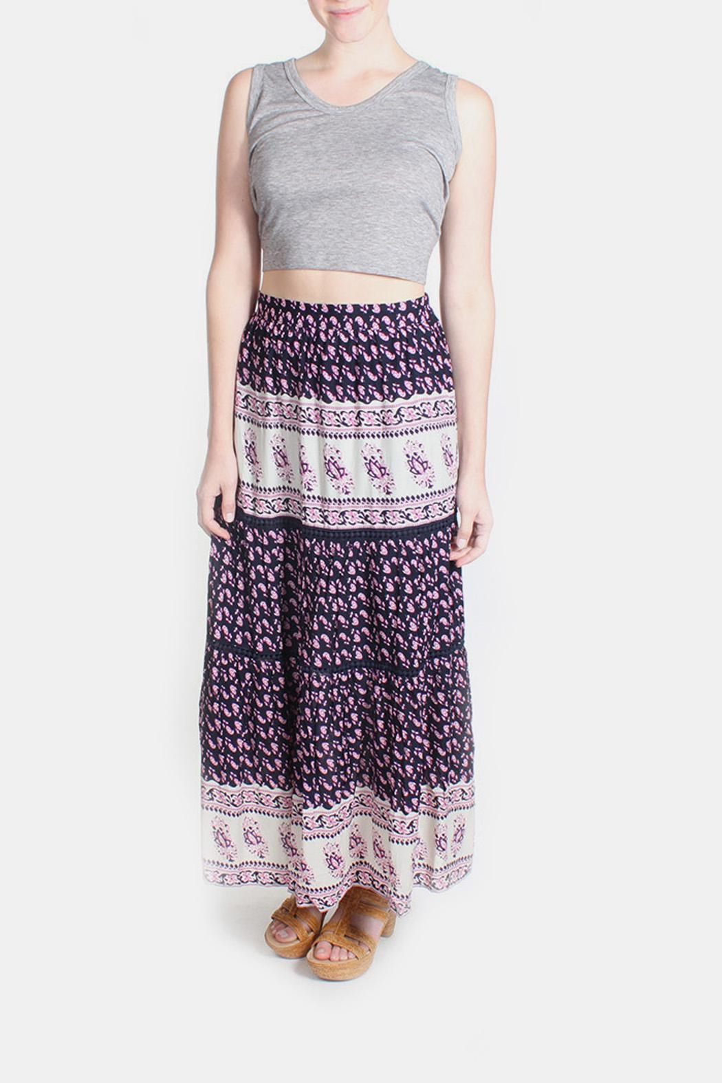 Skies Are Blue Pink Patterned Maxi Skirt - Front Full Image