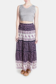 Skies Are Blue Pink Patterned Maxi Skirt - Front full body