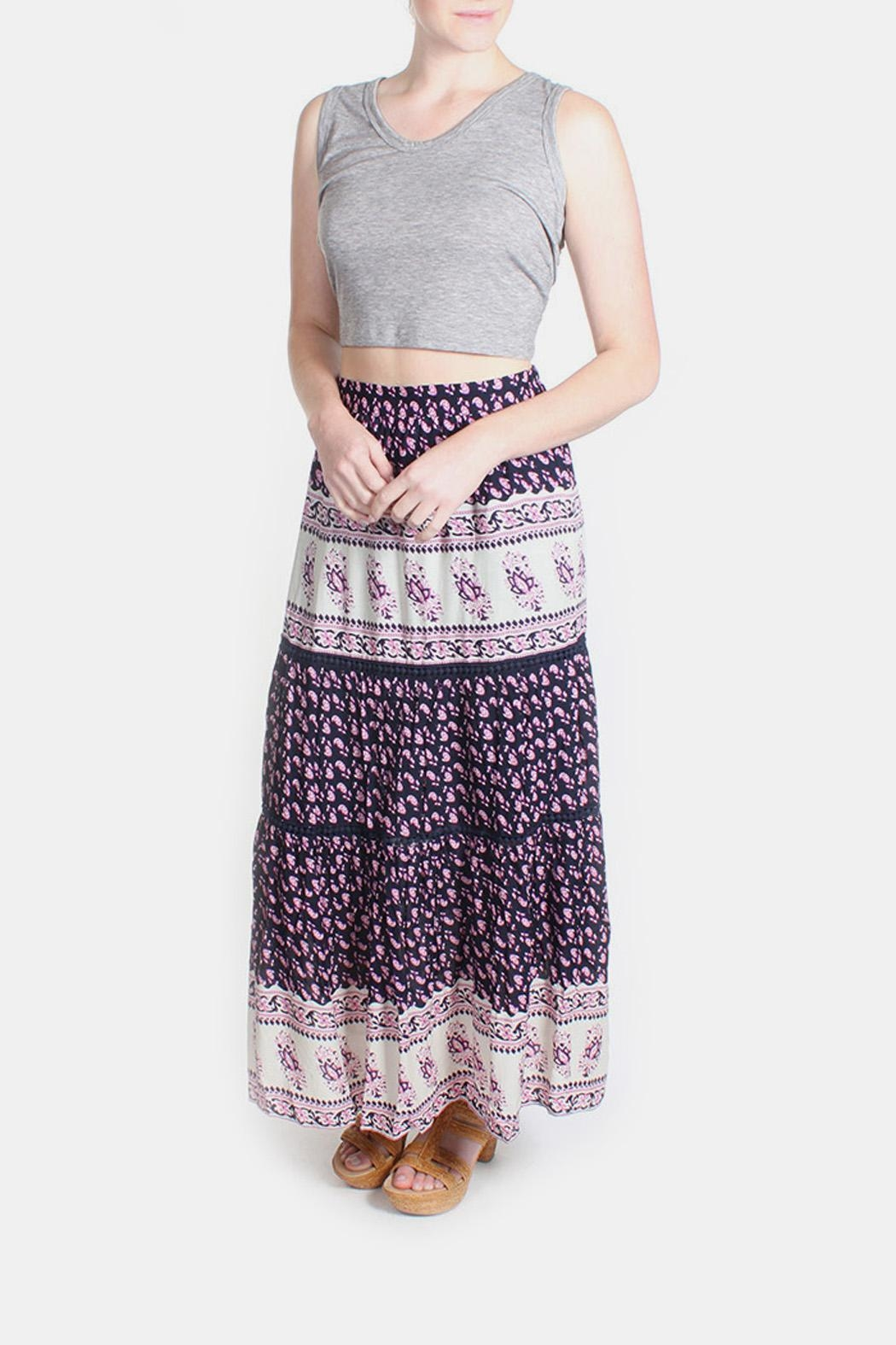 Skies Are Blue Pink Patterned Maxi Skirt - Side Cropped Image