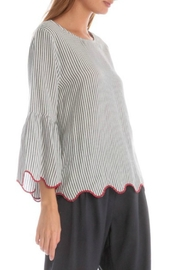 Skies Are Blue Pinstripe Scallop Top - Front full body