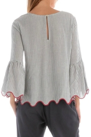 Skies Are Blue Pinstripe Scallop Top - Side cropped