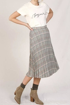 Shoptiques Product: Pleated Plaid Midi Skirt