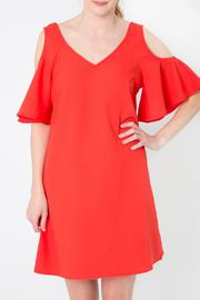 Skies Are Blue Red Cold Shoulder Dress - Back cropped