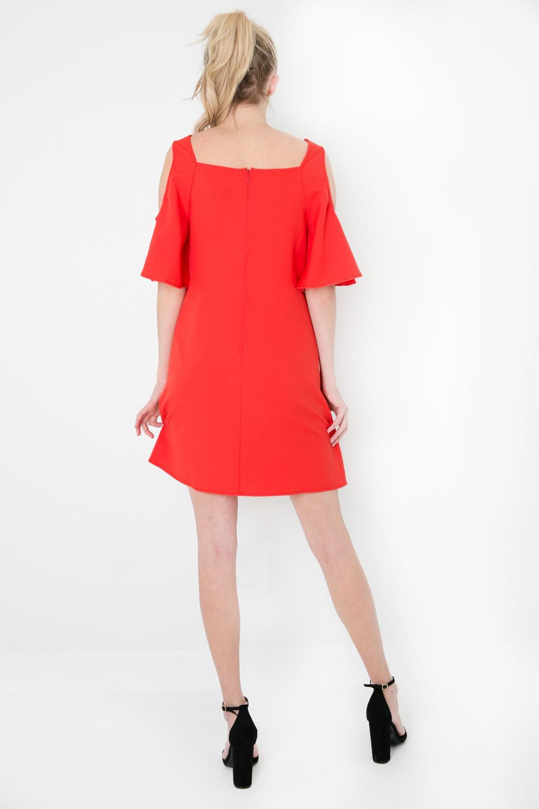 Skies Are Blue Red Cold Shoulder Dress - Side Cropped Image