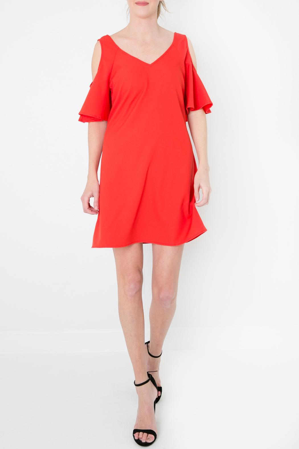 Skies Are Blue Red Cold Shoulder Dress - Front Cropped Image