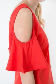 Skies Are Blue Red Cold Shoulder Dress - Other