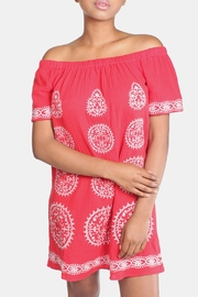 Skies Are Blue Red Embroidered Dress - Product Mini Image