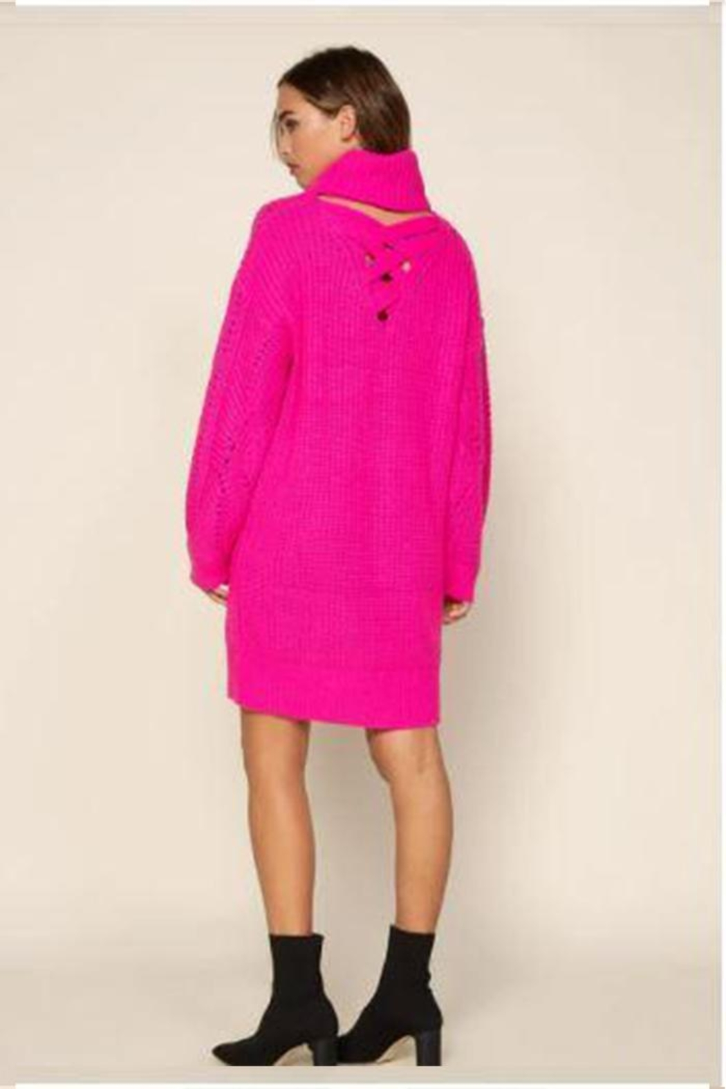 Skies Are Blue Ribbed Turtleneck Sweater Dress - Side Cropped Image