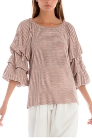 Skies Are Blue Ruched Striped Top - Front cropped