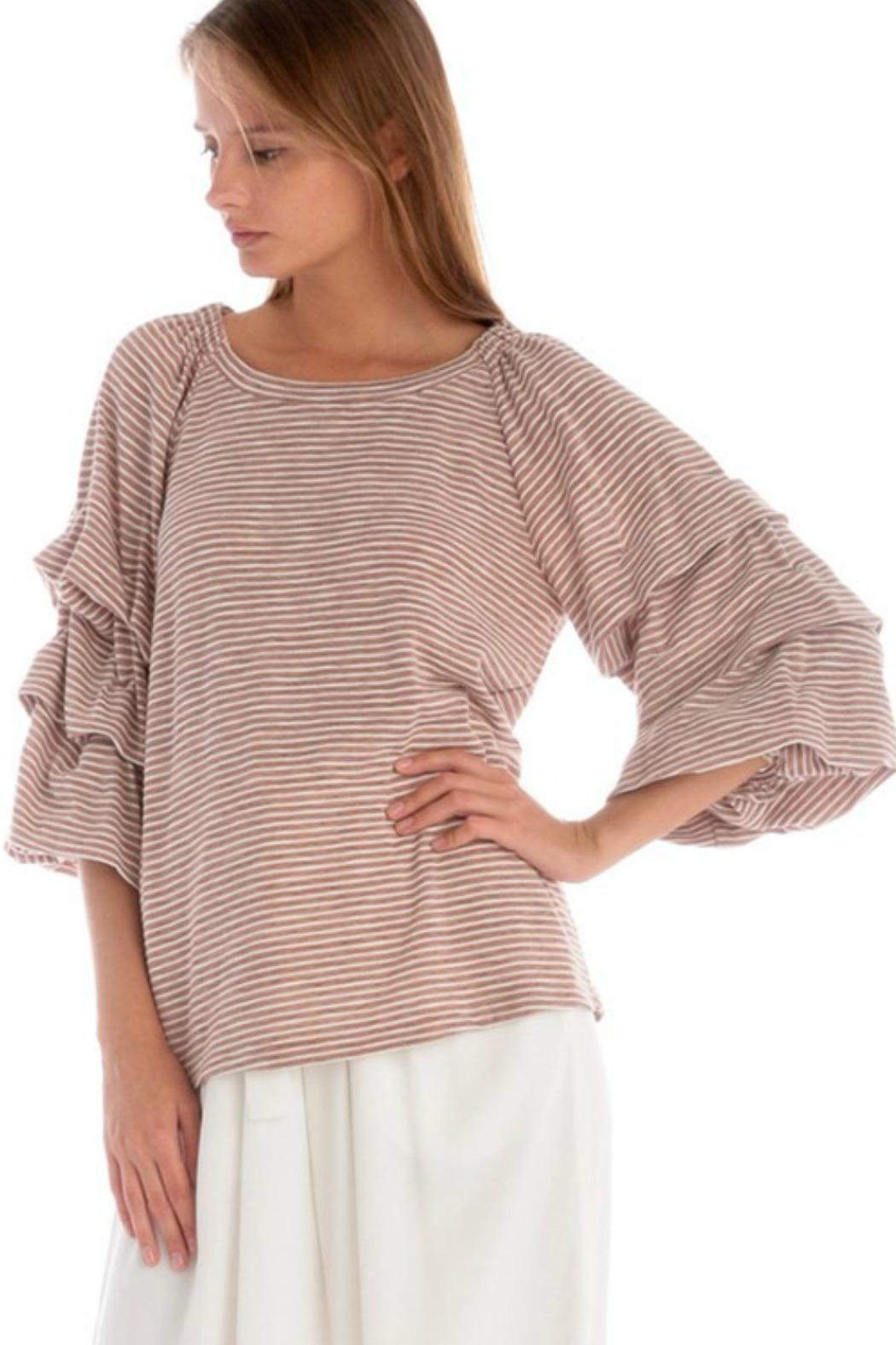 Skies Are Blue Ruched Striped Top - Front Full Image