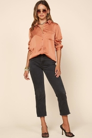 Skies Are Blue Satin Button-Down Shirt - Back cropped