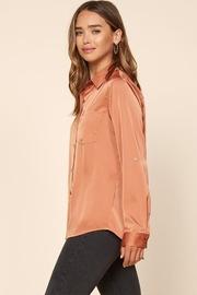 Skies Are Blue Satin Button-Down Shirt - Front full body