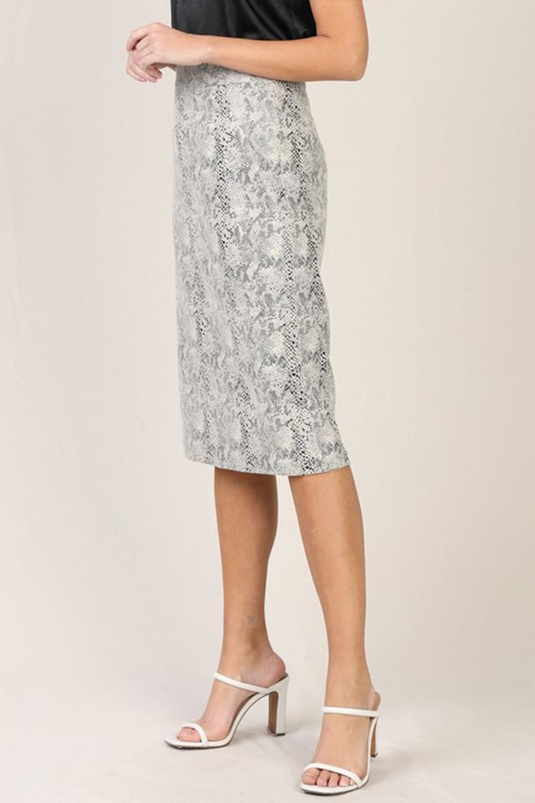 Skies Are Blue Snake Midi Dress - Side Cropped Image