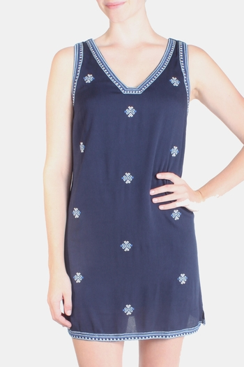Skies Are Blue Starry Night Embroidered Tunic - Main Image