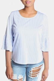 Skies Are Blue Striped Bell Sleeve Blouse - Product Mini Image