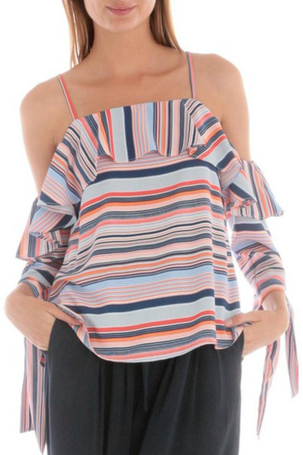 Skies Are Blue Striped Cold-Shoulder Top - Main Image