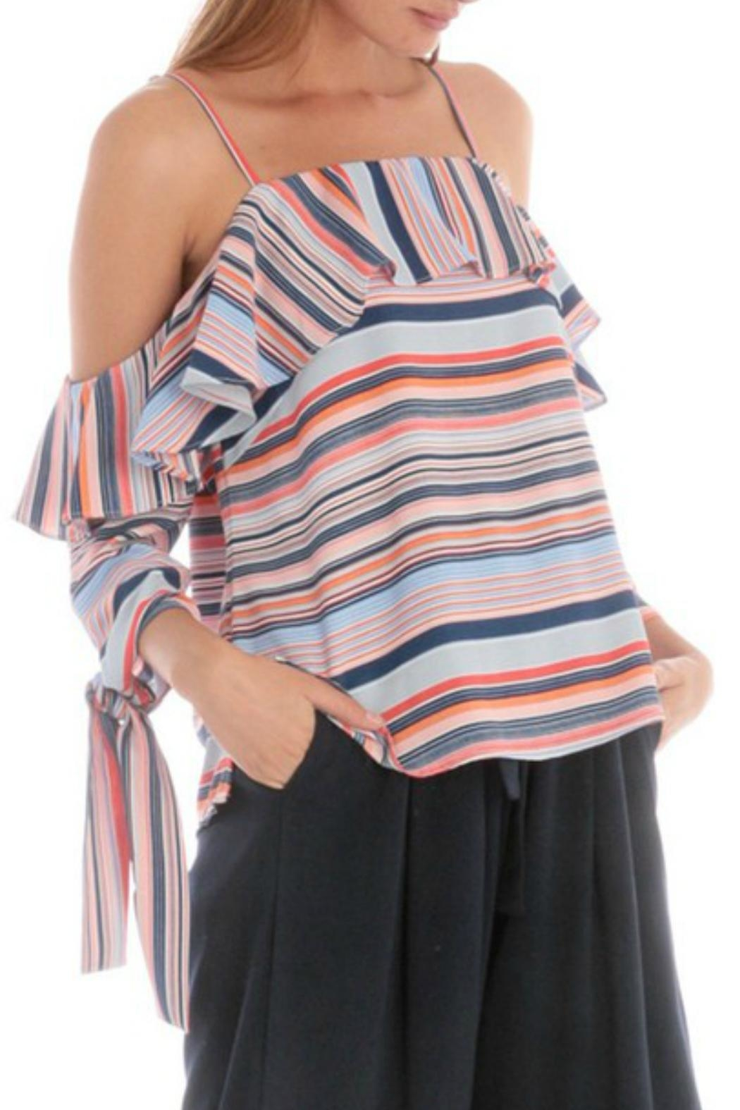 Skies Are Blue Striped Cold-Shoulder Top - Front Full Image