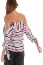 Skies Are Blue Striped Cold-Shoulder Top - Side cropped