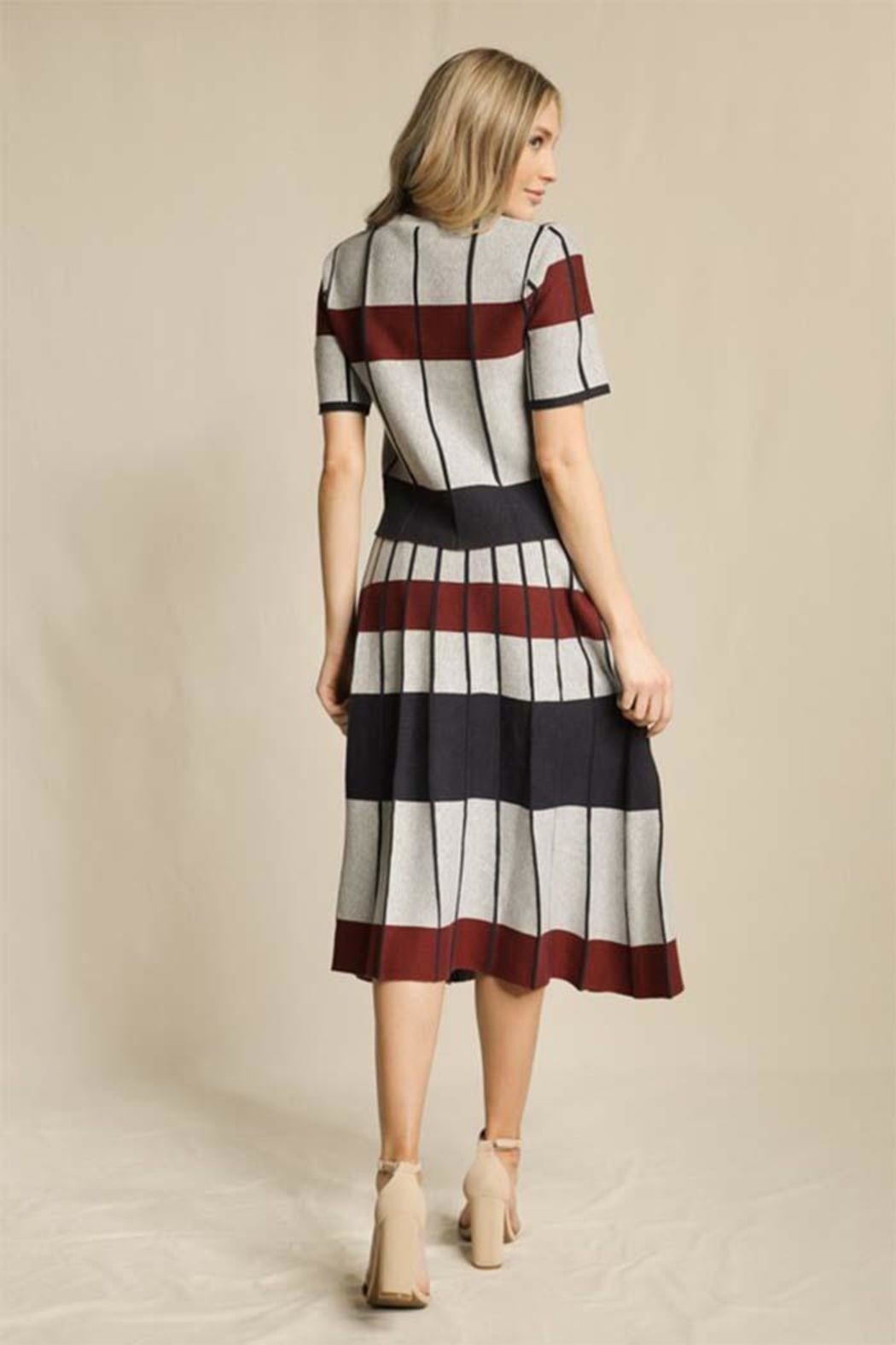 Skies Are Blue Striped Pleated Skirt - Side Cropped Image
