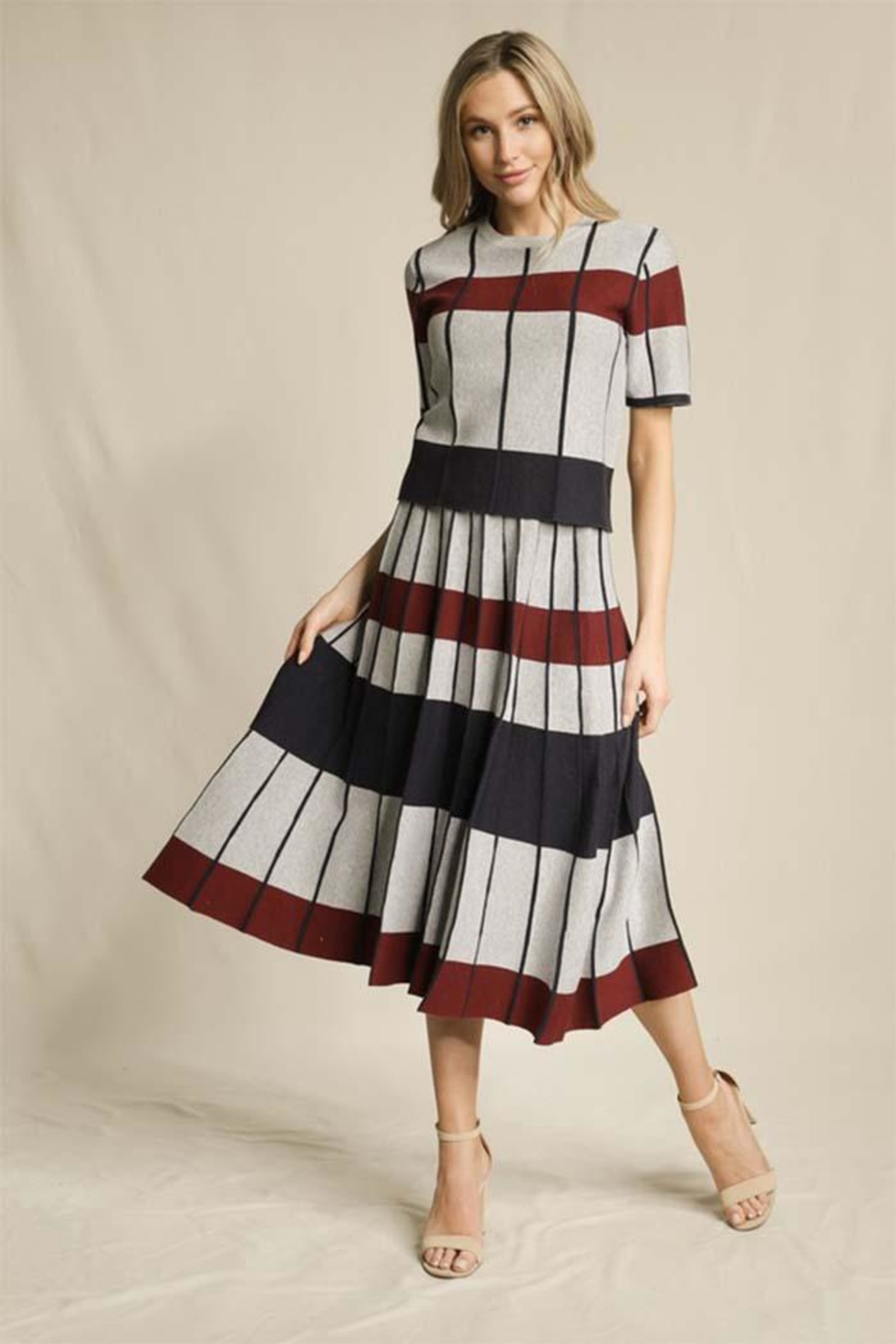 Skies Are Blue Striped Pleated Skirt - Main Image
