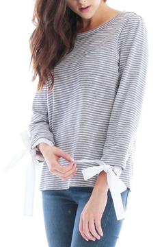 Shoptiques Product: Striped Tie Sleeve Top