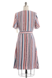 Skies Are Blue Striped Wrap Dress - Front full body