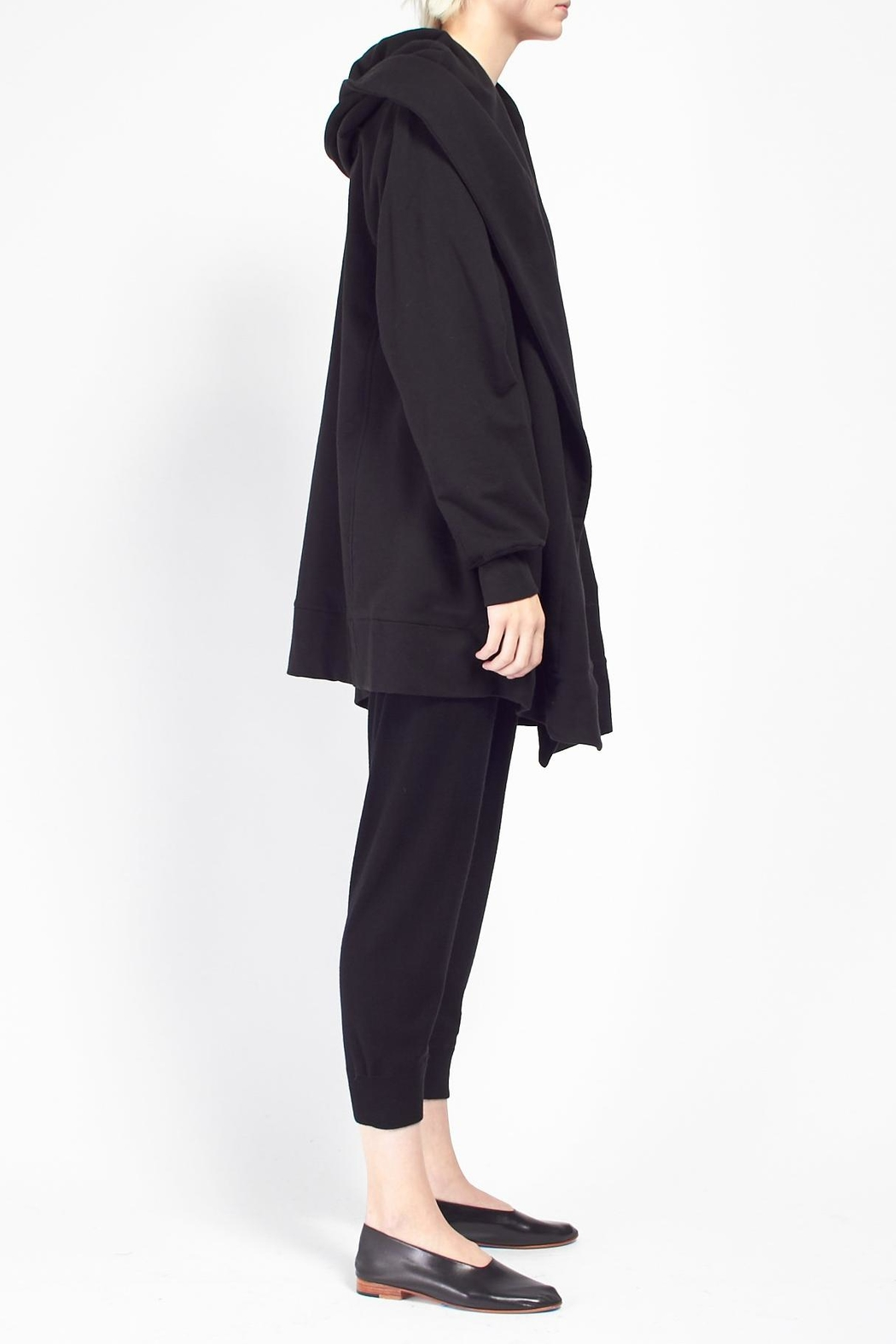 Skin Hooded Cocoon Coat - Front Full Image