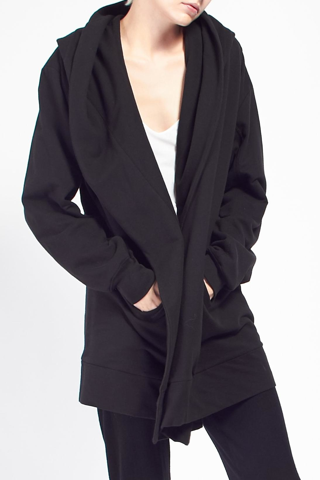 Skin Hooded Cocoon Coat - Side Cropped Image