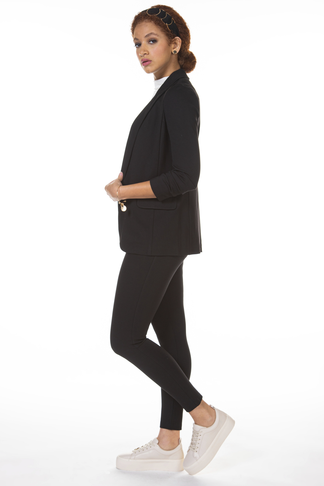 Black Tape/Dex Skinny 2 Pocket Knit Pant - Front Full Image