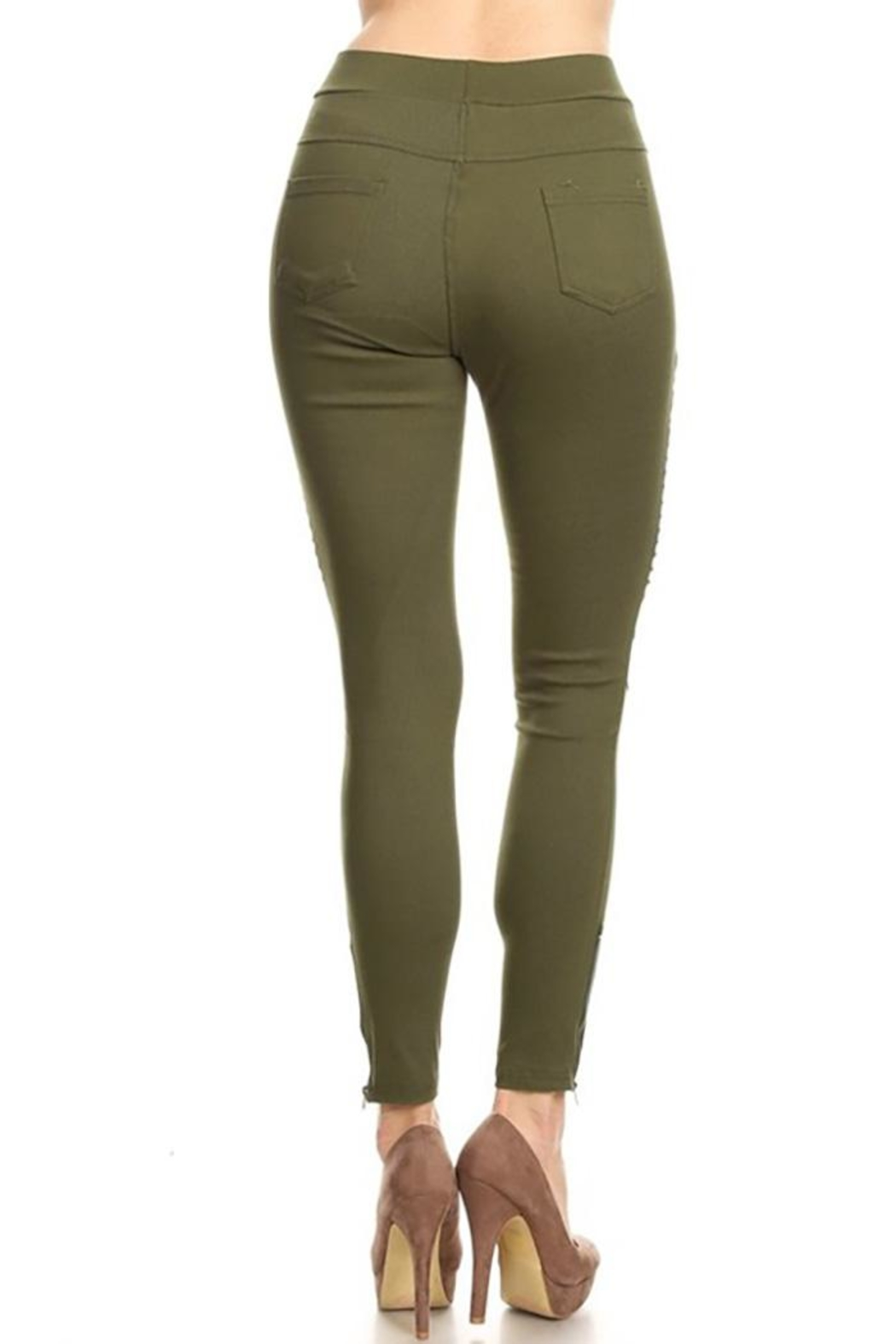Color 5 Skinny Moto Pants - Front Full Image