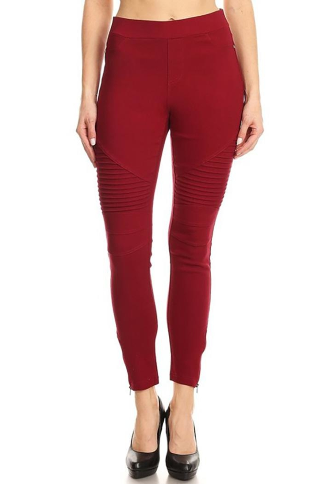 Color 5 Skinny Moto Pants - Front Cropped Image