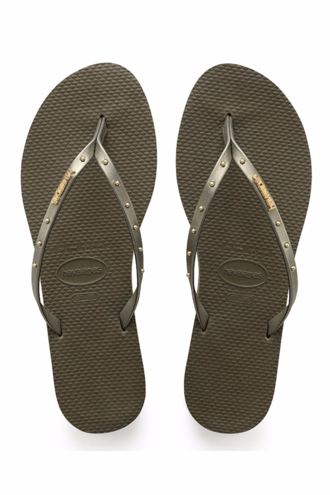 Havaianas Skinny Stud  Olive - Front Cropped Image