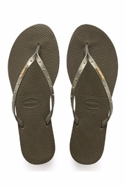 Havaianas Skinny Stud  Olive - Front cropped