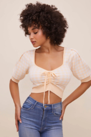 ASTR the Label Skipper Ruched Short Sleeve Sweater - Product Mini Image
