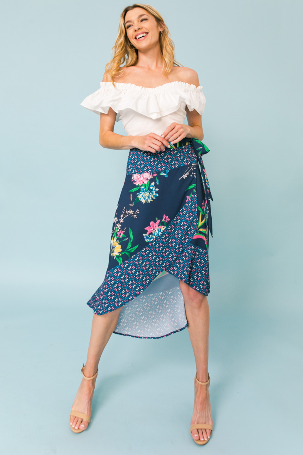 Flying Tomato  SKIRT FLORAL PRINT - Back Cropped Image