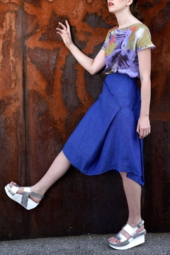 Clara Kaesdorf Skirt Linen Royal-Blue - Alternate List Image