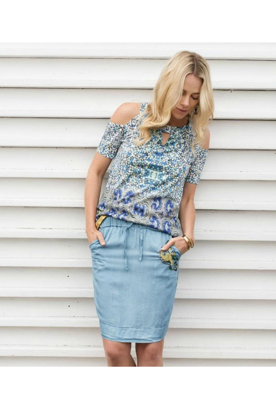EsQualo Skirt With Embroidery - Back Cropped Image