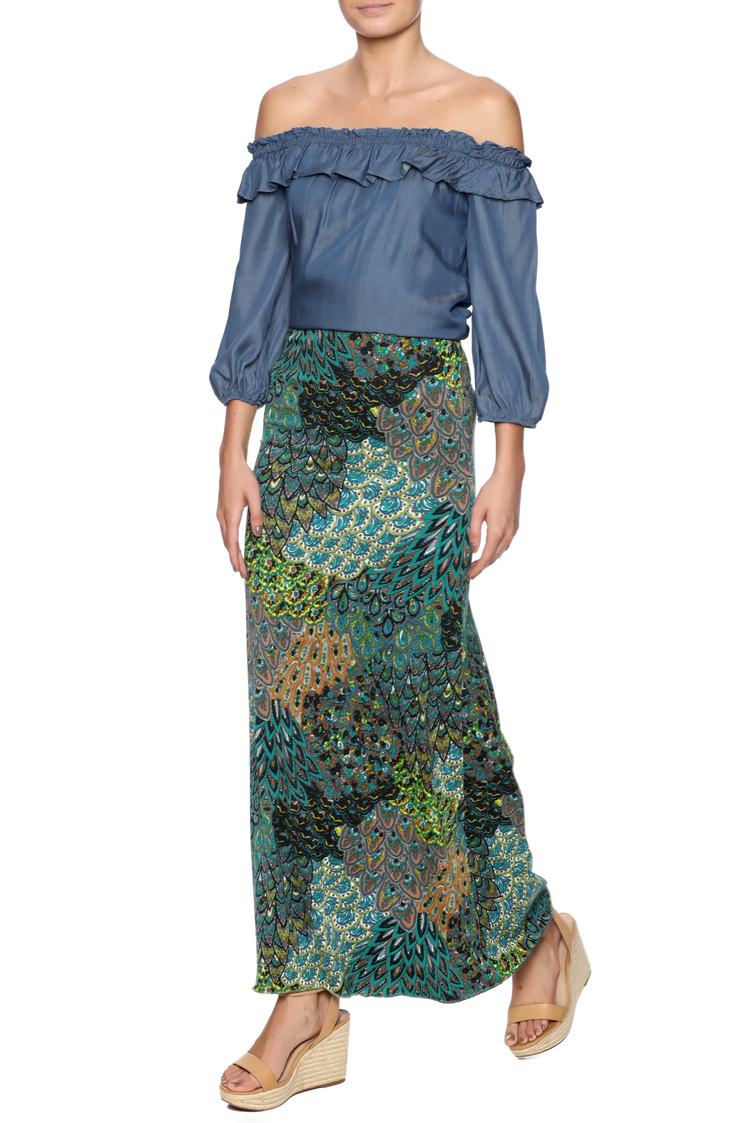 skirtsrule teal peacock maxi skirt from minnesota by