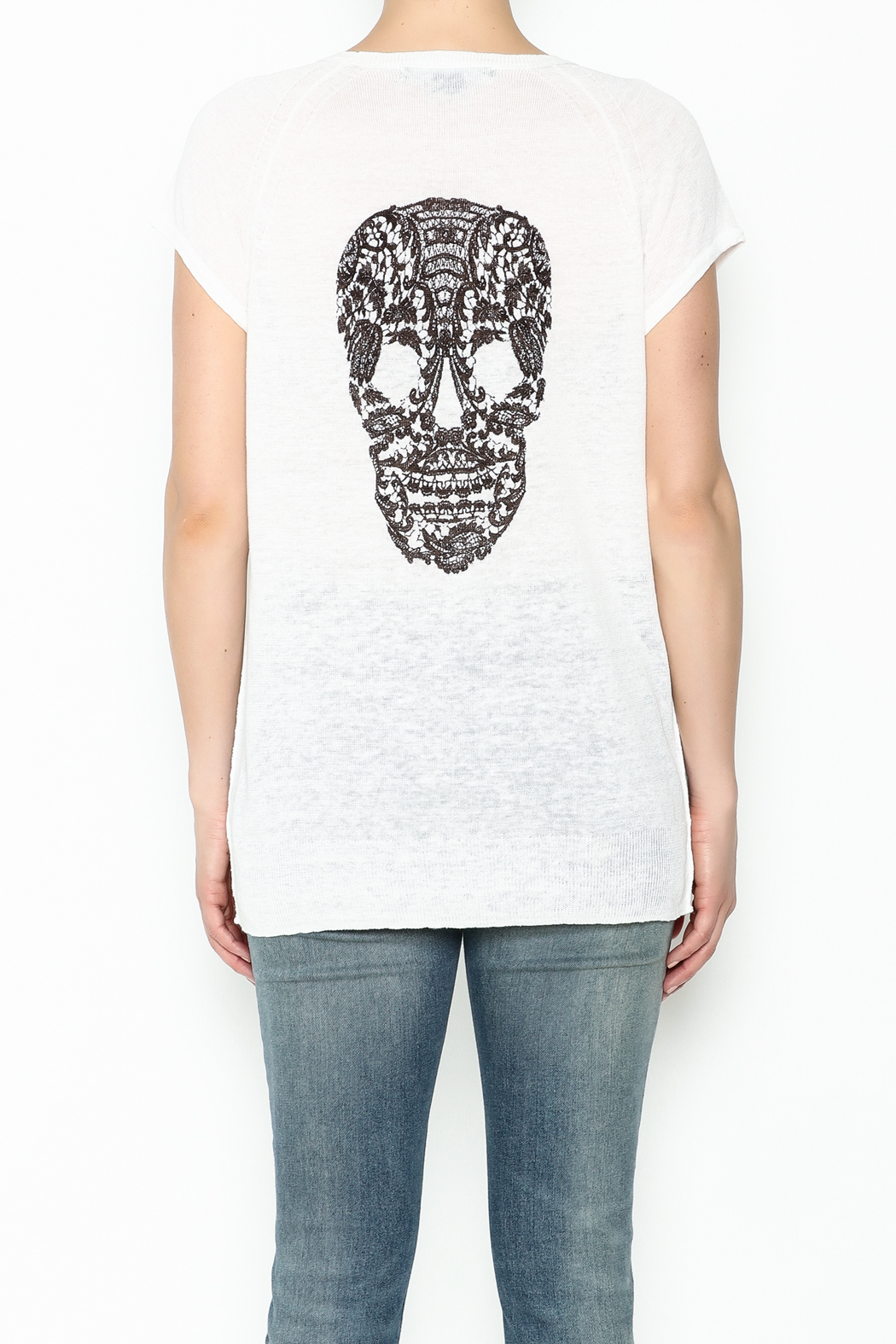 Skull Cashmere Cashmere Lace Skull Top - Back Cropped Image