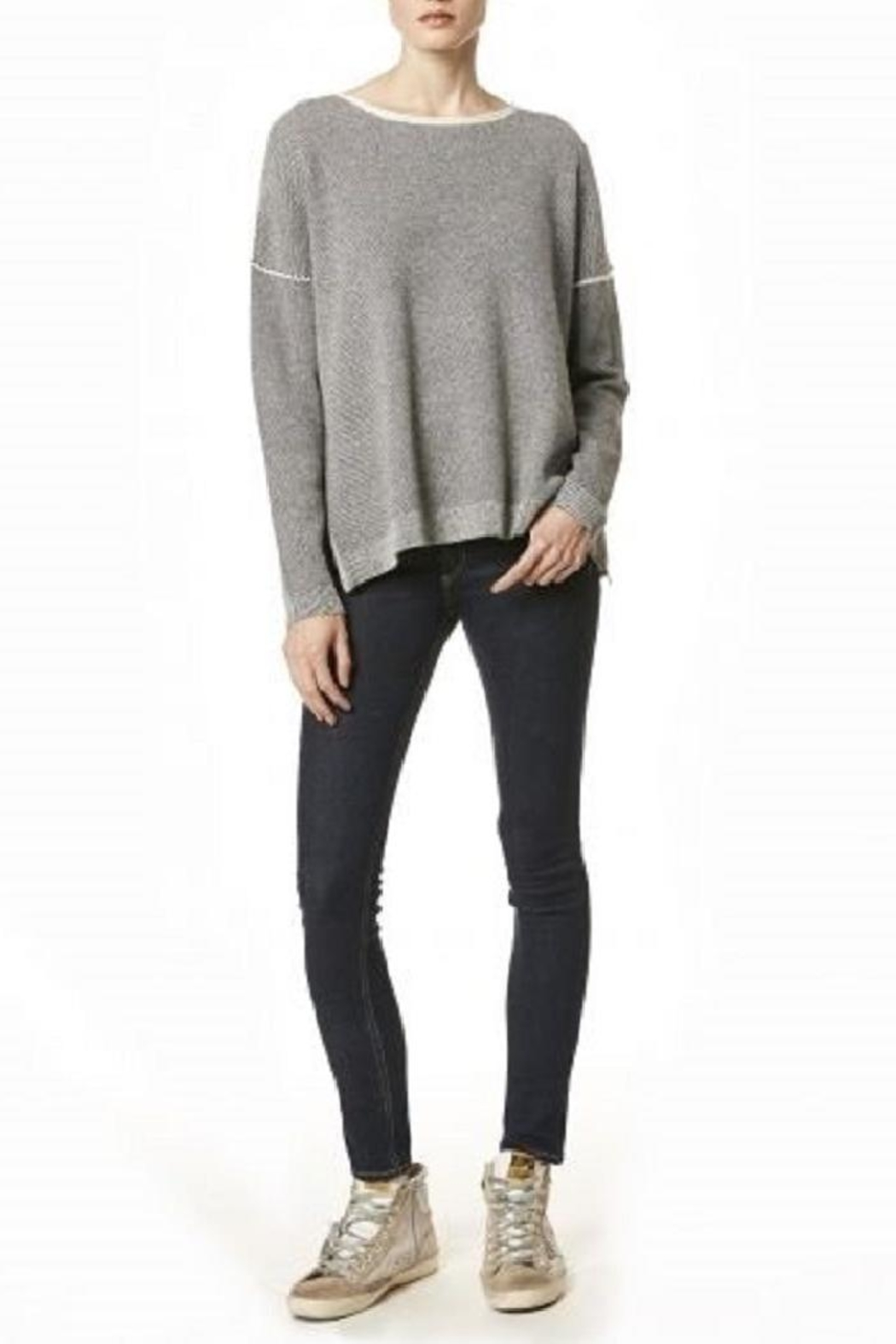 Skull Cashmere Absinthe Grey Sweater - Side Cropped Image