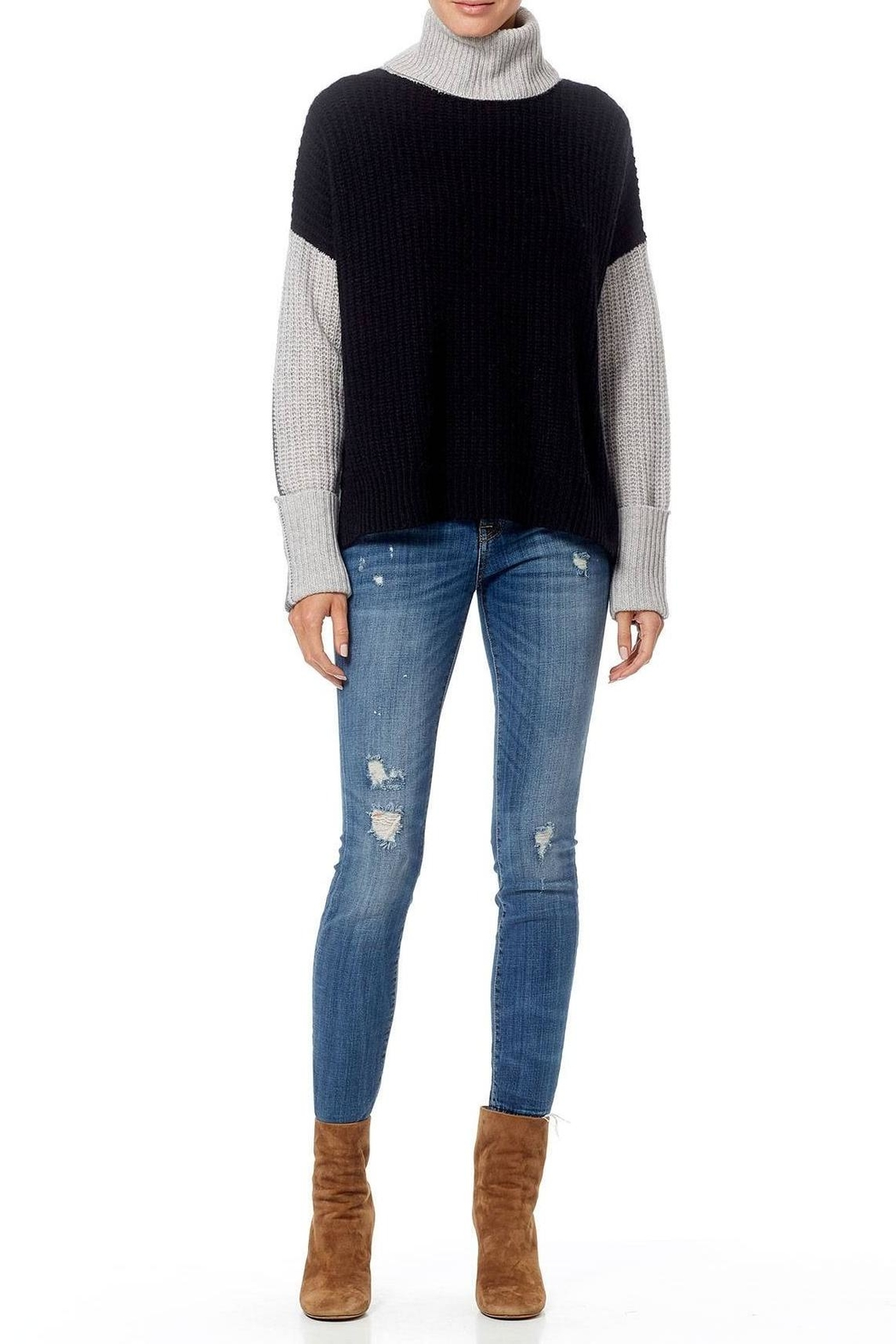 Skull Cashmere Dree Color Block Sweater - Back Cropped Image