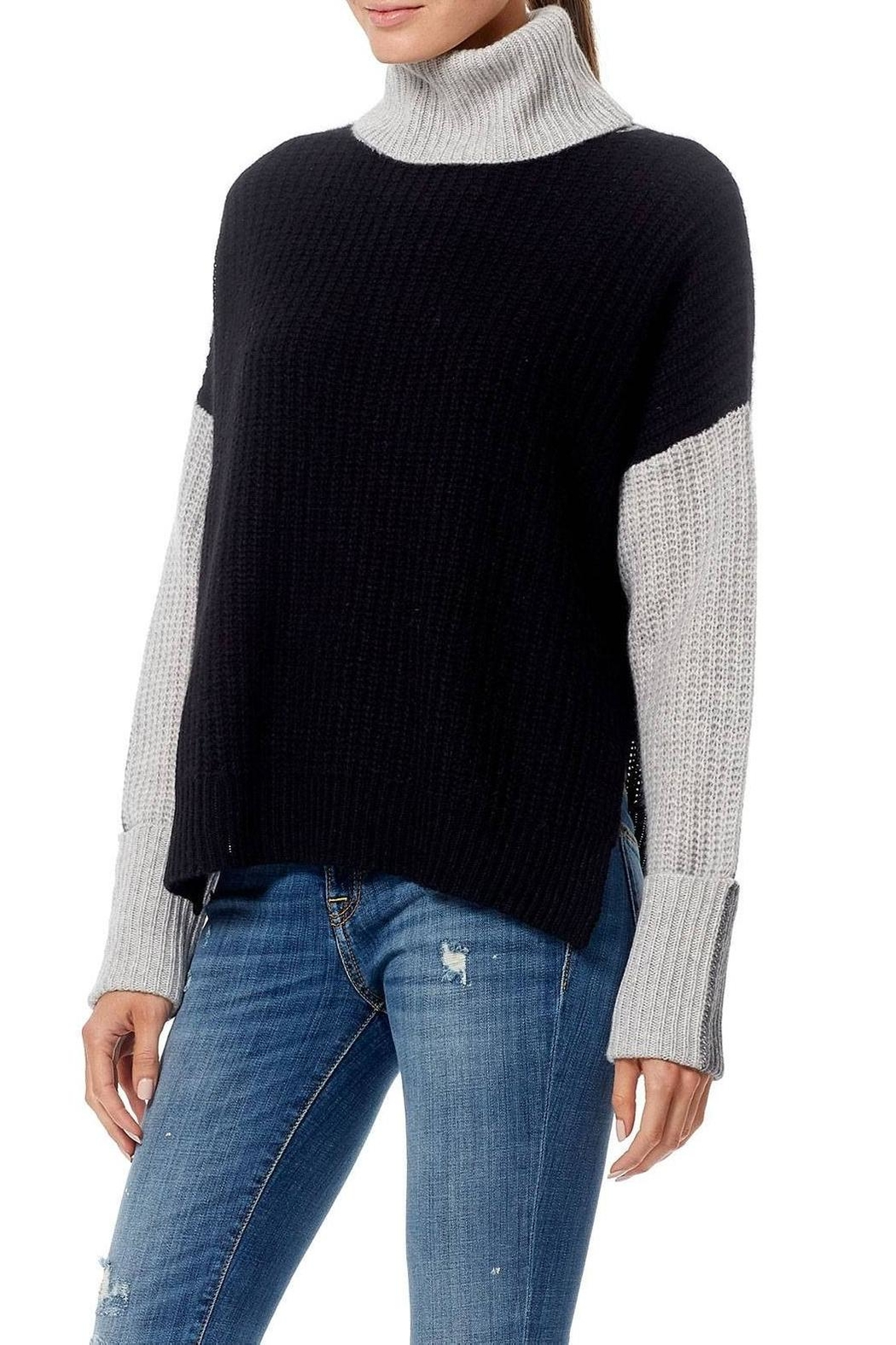 Skull Cashmere Dree Color Block Sweater - Front Full Image