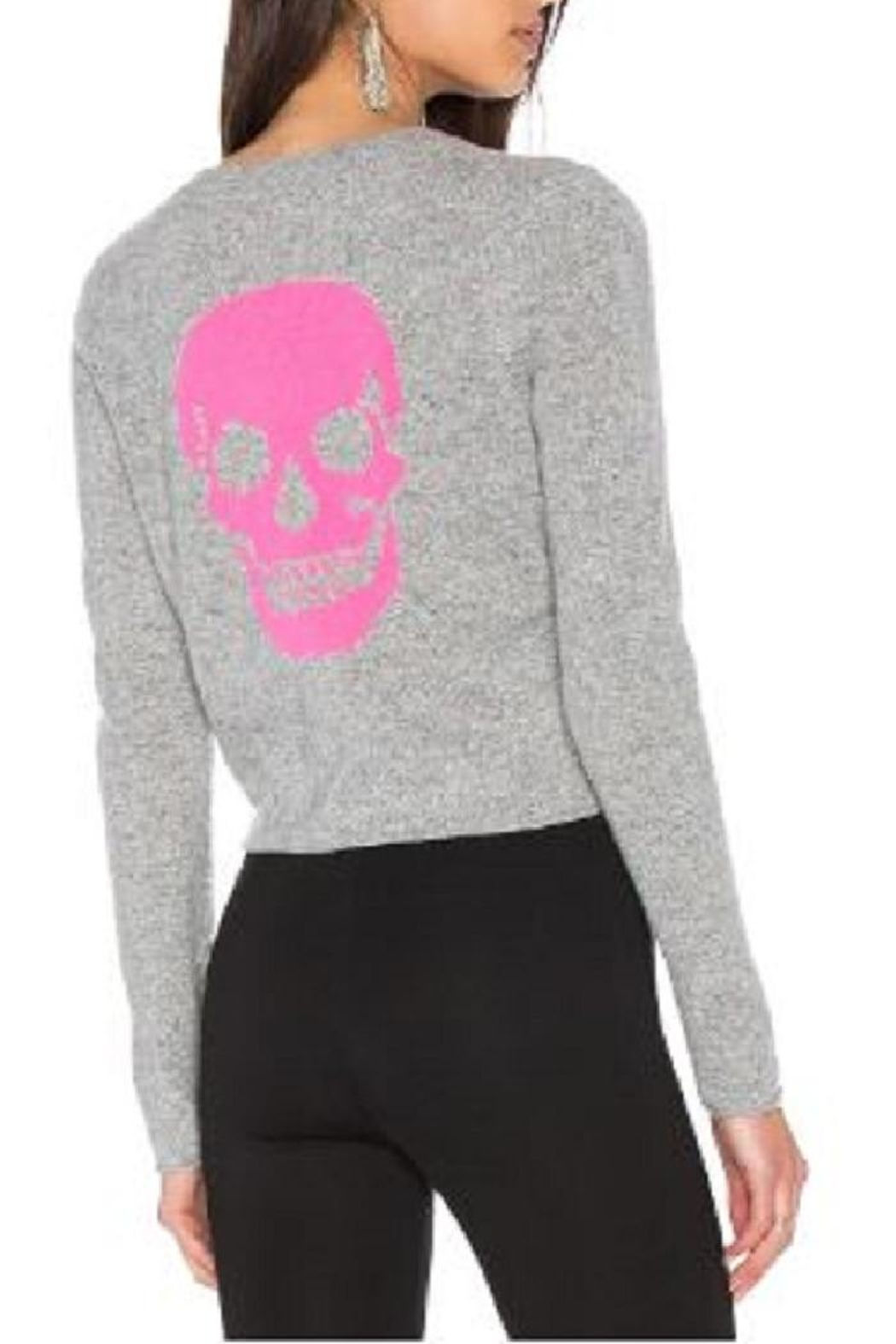 Skull Cashmere Trova Cropped Sweater - Front Full Image