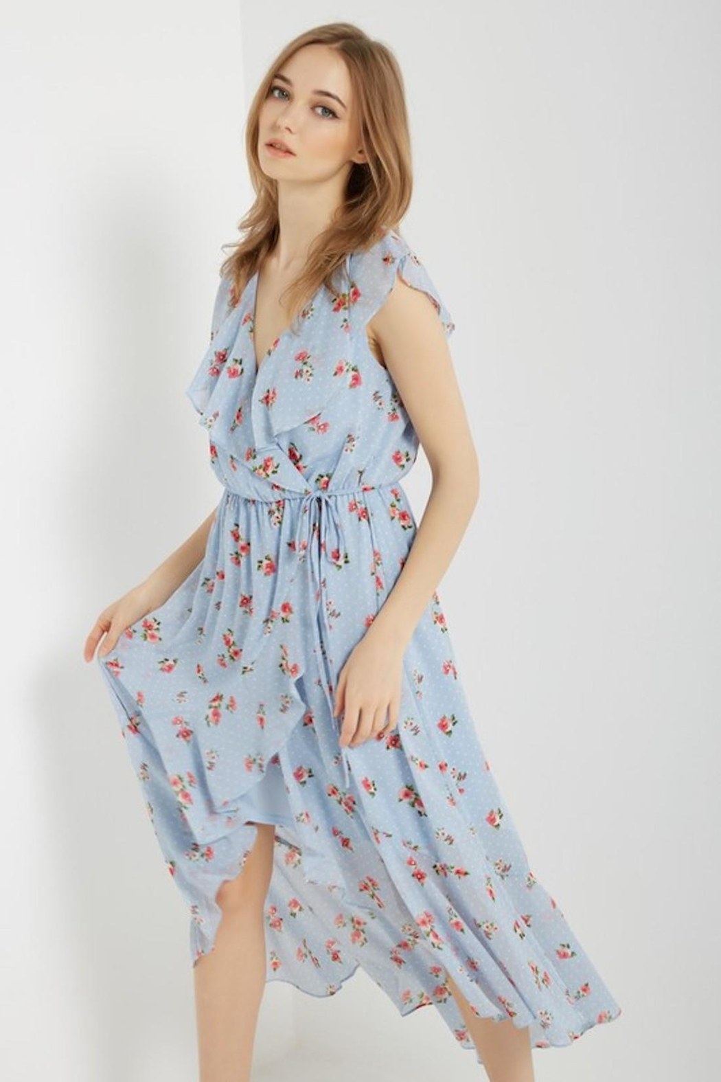 Soprano Sky-Blue Floral Wrap - Front Full Image