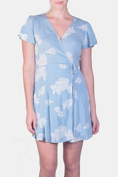 Shoptiques Product: Sky-Blue Floral Wrap-Dress