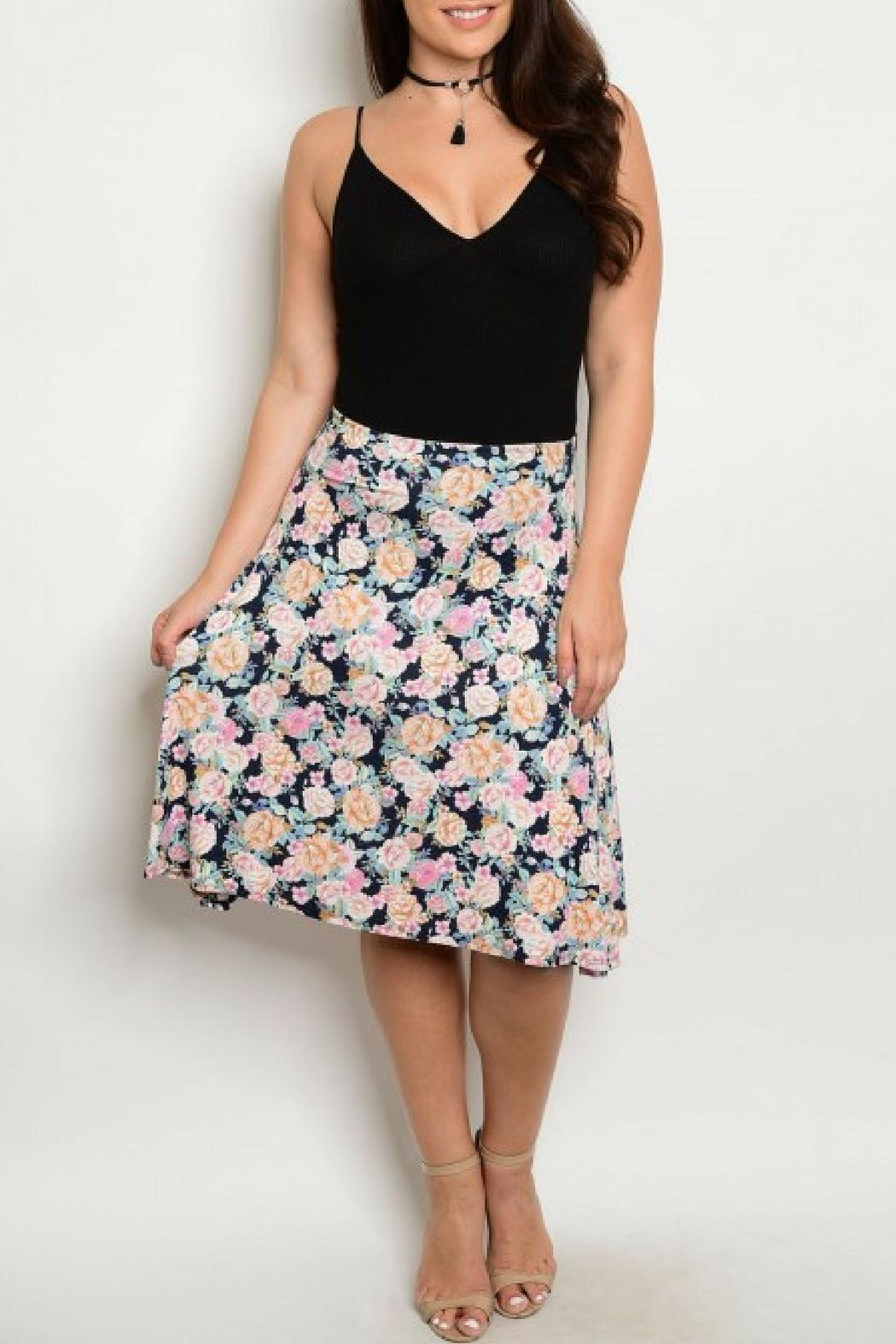 Sky Flower Print Skirt - Front Cropped Image