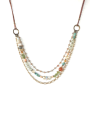 Anne Vaughn Designs Sky leather multi gem necklace - Front cropped