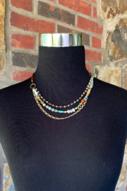 Anne Vaughn Designs Sky leather multi gem necklace - Front full body